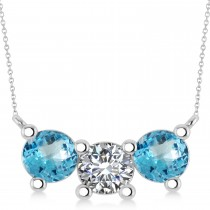 Three Stone Diamond & Blue Topaz Pendant Necklace 14k White Gold (3.00ct)