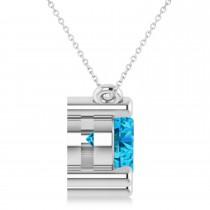 Three Stone Diamond & Blue Topaz Pendant Necklace 14k White Gold (3.00ct)|escape