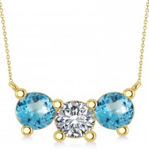 Three Stone Diamond & Blue Topaz Pendant Necklace 14k Yellow Gold (3.00ct)