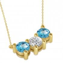 Three Stone Diamond & Blue Topaz Pendant Necklace 14k Yellow Gold (3.00ct)