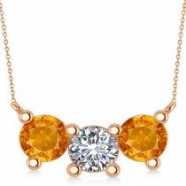 Three Stone Diamond & Citrine Pendant Necklace 14k Rose Gold (3.00ct)