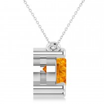 Three Stone Diamond & Citrine Pendant Necklace 14k White Gold (3.00ct)