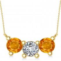 Three Stone Diamond & Citrine Pendant Necklace 14k Yellow Gold (3.00ct)