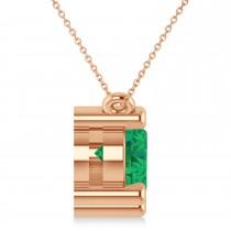 Three Stone Diamond & Emerald Pendant Necklace 14k Rose Gold (3.00ct)