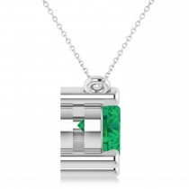 Three Stone Diamond & Emerald Pendant Necklace 14k White Gold (3.00ct)