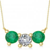 Three Stone Diamond & Emerald Pendant Necklace 14k Yellow Gold (3.00ct)