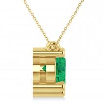 Three Stone Diamond & Emerald Pendant Necklace 14k Yellow Gold (3.00ct)