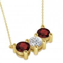 Three Stone Diamond & Garnet Pendant Necklace 14k Yellow Gold (3.00ct)