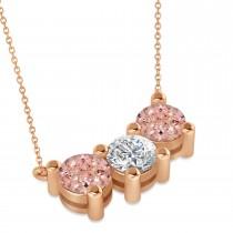 Three Stone Diamond & Morganite Pendant Necklace 14k Rose Gold (3.00ct)