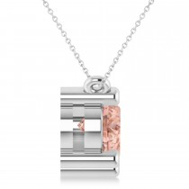 Three Stone Diamond & Morganite Pendant Necklace 14k White Gold (3.00ct)
