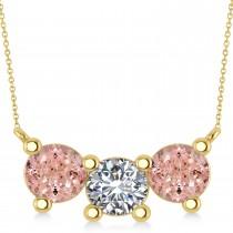 Three Stone Diamond & Morganite Pendant Necklace 14k Yellow Gold (3.00ct)