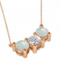 Three Stone Diamond & Opal Pendant Necklace 14k Rose Gold (3.00ct)