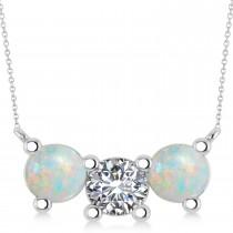Three Stone Diamond & Opal Pendant Necklace 14k White Gold (3.00ct)