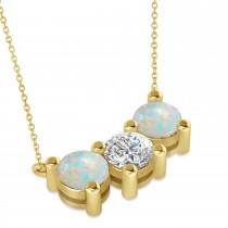 Three Stone Diamond & Opal Pendant Necklace 14k Yellow Gold (3.00ct)