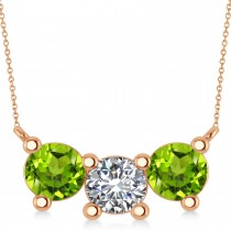 Three Stone Diamond & Peridot Pendant Necklace 14k Rose Gold (3.00ct)