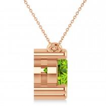 Three Stone Diamond & Peridot Pendant Necklace 14k Rose Gold (3.00ct)