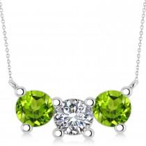 Three Stone Diamond & Peridot Pendant Necklace 14k White Gold (3.00ct)