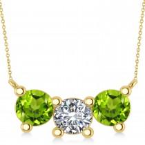 Three Stone Diamond & Peridot Pendant Necklace 14k Yellow Gold (3.00ct)