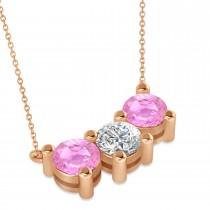 Three Stone Diamond & Pink Sapphire Pendant Necklace 14k Rose Gold (3.00ct)