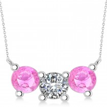 Three Stone Diamond & Pink Sapphire Pendant Necklace 14k White Gold (3.00ct)