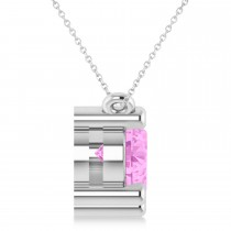 Three Stone Diamond & Pink Sapphire Pendant Necklace 14k White Gold (3.00ct)