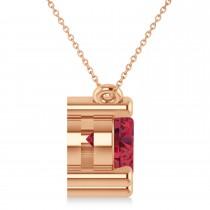 Three Stone Diamond & Ruby Pendant Necklace 14k Rose Gold (3.00ct)