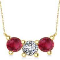 Three Stone Diamond & Ruby Pendant Necklace 14k Yellow Gold (3.00ct)