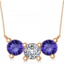 Three Stone Diamond & Tanzanite Pendant Necklace 14k Rose Gold (3.00ct)