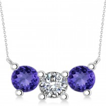 Three Stone Diamond & Tanzanite Pendant Necklace 14k White Gold (3.00ct)