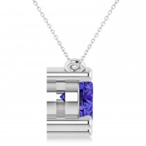 Three Stone Diamond & Tanzanite Pendant Necklace 14k White Gold (3.00ct)|escape