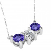 Three Stone Diamond & Tanzanite Pendant Necklace 14k White Gold (3.00ct)