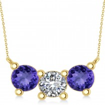 Three Stone Diamond & Tanzanite Pendant Necklace 14k Yellow Gold (3.00ct)