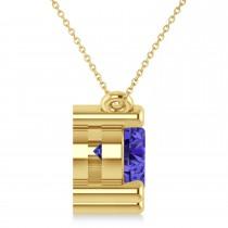 Three Stone Diamond & Tanzanite Pendant Necklace 14k Yellow Gold (3.00ct)