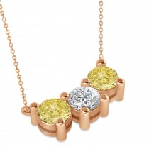 Three Stone Diamond & Yellow Diamond Pendant Necklace 14k Rose Gold (3.00ct)