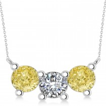 Three Stone Diamond & Yellow Diamond Pendant Necklace 14k White Gold (3.00ct)