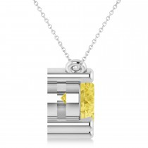 Three Stone Diamond & Yellow Diamond Pendant Necklace 14k White Gold (3.00ct)|escape