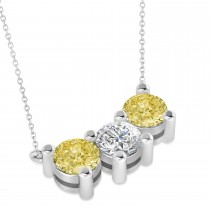Three Stone Diamond & Yellow Diamond Pendant Necklace 14k White Gold (3.00ct)