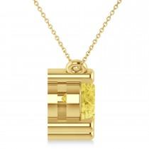 Three Stone Diamond & Yellow Diamond Pendant Necklace 14k Yellow Gold (3.00ct)