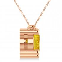 Three Stone Diamond & Yellow Sapphire Pendant Necklace 14k Rose Gold (3.00ct)
