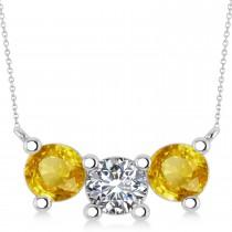Three Stone Diamond & Yellow Sapphire Pendant Necklace 14k White Gold (3.00ct)