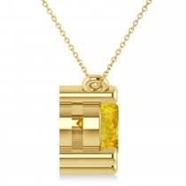 Three Stone Diamond & Yellow Sapphire Pendant Necklace 14k Yellow Gold (3.00ct)