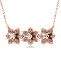 Triple Flower Diamond Pendant Necklace 14k Rose Gold (0.18ct)