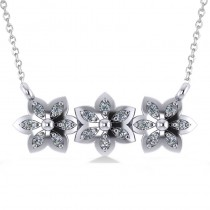 Triple Flower Diamond Pendant Necklace 14k White Gold (0.18ct)