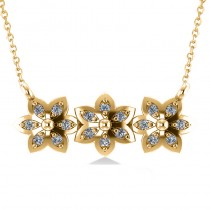 Triple Flower Diamond Pendant Necklace 14k Yellow Gold (0.18ct)