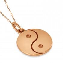 Yin Yang Symbol Pendant Necklace 14k Rose Gold