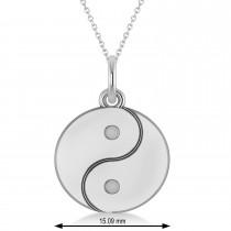 Yin Yang Symbol Pendant Necklace 14k White Gold