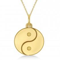 Yin Yang Symbol Pendant Necklace 14k Yellow Gold