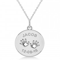 Personalized Baby Name Charm Pendant Necklace 14k White Gold