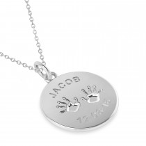 Personalized Baby Name Charm Pendant Necklace 14k White Gold|escape