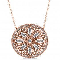 Antique Style Flower Diamond Pendant Necklace 14k Rose Gold (0.77ct)